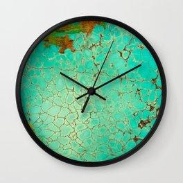 Crackeled Turquoise Stone Wall Clock