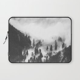 Modern Minimalist Landscape Photo Foggy Mountain Valley Pine Trees Black And White Photo Laptop Sleeve