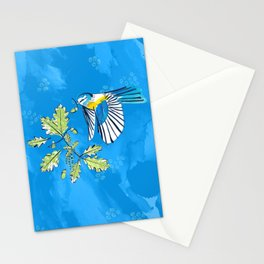 Flying Birds and Oak Leaves on Blue Stationery Cards