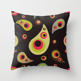 Oriental Persian Paisley, Dots - Green Pink Black Throw Pillow