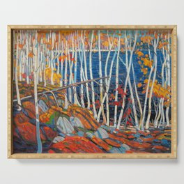 In The Northland (Group Of Seven) by Tom Thomson Canadian Landscape Art Serving Tray