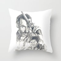 the walking dead Throw Pillows featuring Walking Dead by Heather Andrewski