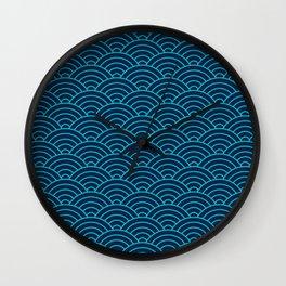 Japanese Seigaiha Blue Sea and Waves Wall Clock