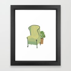 Green armchair with plant Framed Art Print