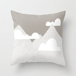 Low Cloud Mountain Scene Throw Pillow