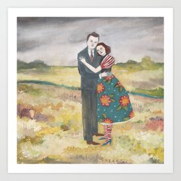 nigel and lily embrace as the storm passes by Art Print