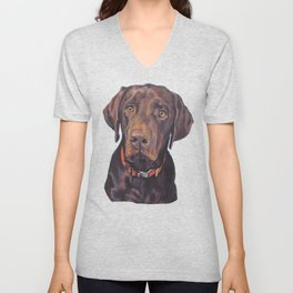 Chocolate lab LABRADOR RETRIEVER dog portrait painting by L.A.Shepard fine art Unisex V-Neck