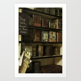 Antique Sundries Line The Shelves In A Pioneer General Store Art Print