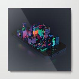 Digital City Metal Print