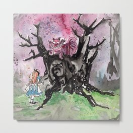 Alice and the Cheshire Cat Metal Print
