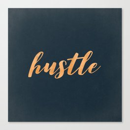 Hustle Text Copper Bronze Gold and Navy Canvas Print