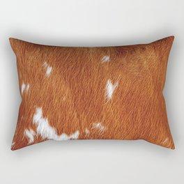 Tan Cowhide Smooth Texture Rectangular Pillow