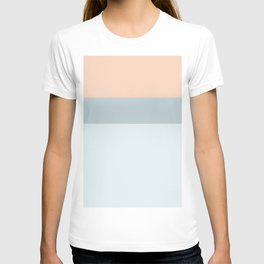 Modern  pastel coral blue color block stripes T-shirt
