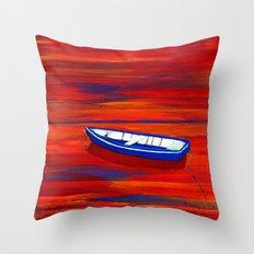 Little blue boat Throw Pillow