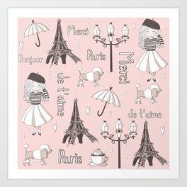 Paris Girl - Pink Art Print