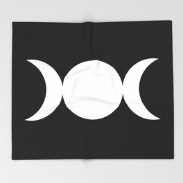 Triple Goddess Symbol – Divine Feminine – Maiden, Mother, Crone - White on Black Throw Blanket