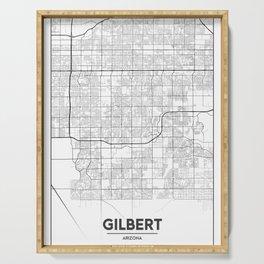Minimal City Maps - Map Of Gilbert, Arizona, United States Serving Tray