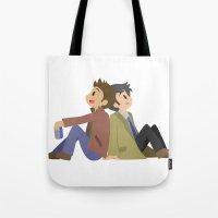 destiel Tote Bags featuring Supernatural - Destiel [Commission] by Choco-Minto
