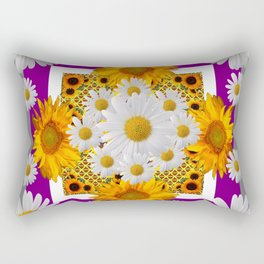 GREY & WHITE DAISIES FLORAL ABSTRACT & YELLOW SUNFLOWERS Rectangular Pillow