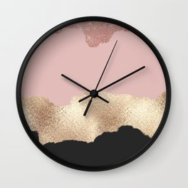 Rose Gold Glitter Black Pink Abstract Girly Art Wall Clock