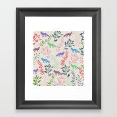 Watercolor Floral & Fox III Framed Art Print