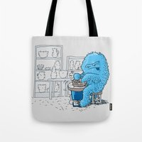 potter Tote Bags featuring Hairy Potter by awkwardyeti