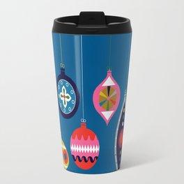 Retro Christmas Baubles on a dark background Travel Mug