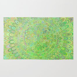 Green Floral Feather Mandala Rug