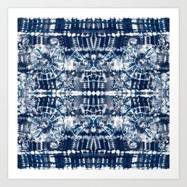 Blue Tie-Dye Spiral Stripe Art Print