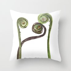Etched Into Nature No.2 Forest Fiddlehead Ferns Throw Pillow