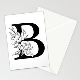 B botanical monogram. Letter initial with peonies Stationery Cards