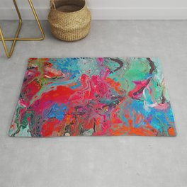 Heaven Rejoices Multi Colored Abstract Luke 15:7 Rug