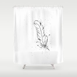 Feather Black and White Art Illustration Shower Curtain