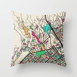 Colorful City Maps: Brentwood, California Throw Pillow