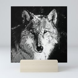 wolf splatter watercolor black white Mini Art Print