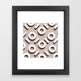 Beige Keyhole Pattern Framed Art Print