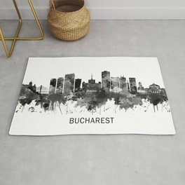 Bucharest Romania Skyline BW Rug