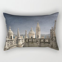 Monochrome treatment of the turrets at the Torre de Belem in Lisbon Rectangular Pillow