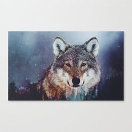 Wolf Double exposure Canvas Print