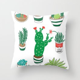 Illustrated Cactii Throw Pillow