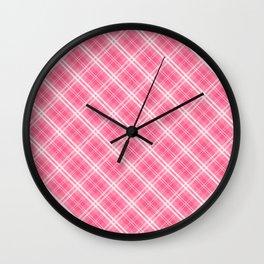 Midi Pink Valentine Sweetheart Tartan Plaid Check Wall Clock