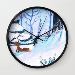 Cold Winter Snow Wall Clock