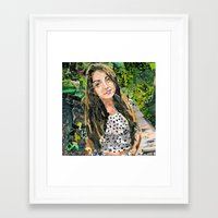 bianca green Framed Art Prints featuring Bianca by Maritza Hernandez