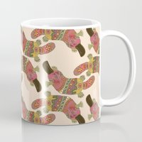 platypus Mugs featuring duck-billed platypus linen by Sharon Turner