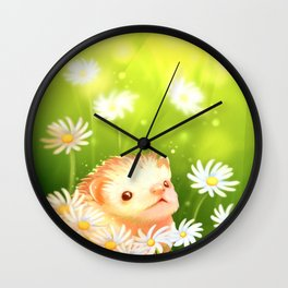 Among flowers and hedgehogs Wall Clock