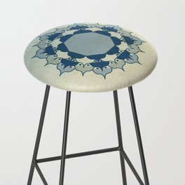 Lotus Mandala Light Blue Center Sand Water Wash Bar Stool