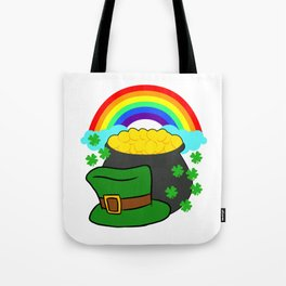 Pot Of Gold Hat And Rainbow Clover St Patricks Day Tote Bag