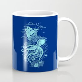 Giant Octopus and Sailing Ship Coffee Mug