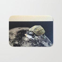 Space Turtle (Eating Fish), an Analog Paper Collage by Cecilia Lee, Whipple Hill Art Collective Bath Mat