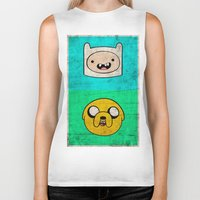 finn and jake Biker Tanks featuring Finn & Jake by WolfFace